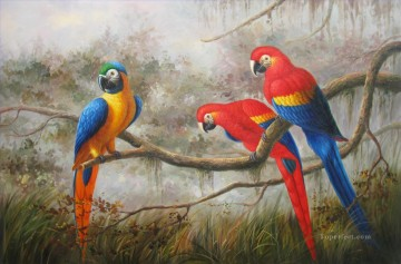 Animal Painting - parrots on branch birds