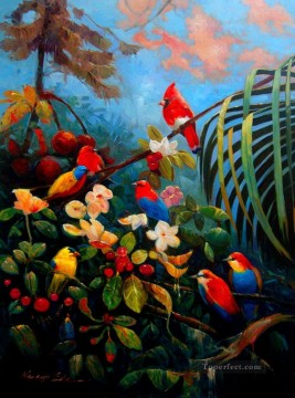 parrots vivid colors birds Oil Paintings