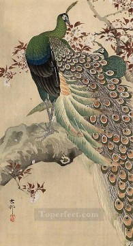 Animal Painting - two green peacocks on the bough of a flowering tree Ohara Koson birds
