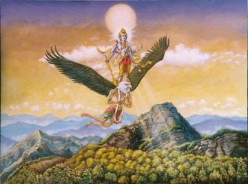 visnu flying on the back of eagle birds Oil Paintings