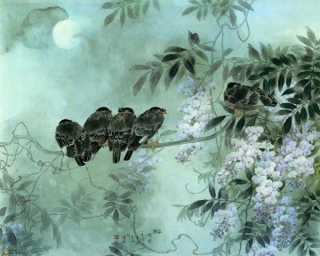 Chinese birds flowers under moon Oil Paintings