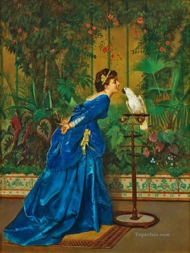 Bird Painting - Lady feeding a Parrot birds