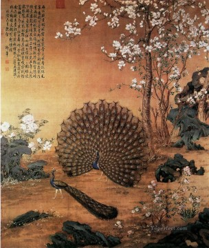 Bird Painting - Lang shining Proudasa Peacock old China ink Giuseppe Castiglione birds