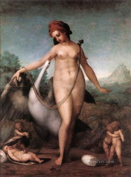 Leda And The Swan Jacopo da Pontormo birds Oil Paintings