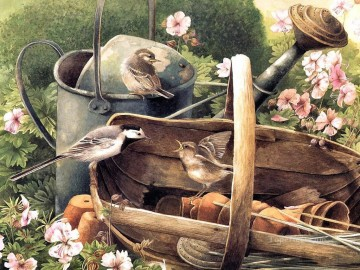 bird feeding in basket Oil Paintings