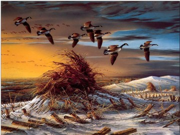 birds migration in sunset winter snow Oil Paintings
