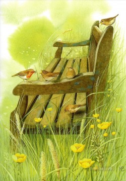 birds on a chair Oil Paintings