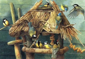 Bird Painting - home for tomtits birds