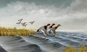 Bird Painting - mallards on rough water refuge birds