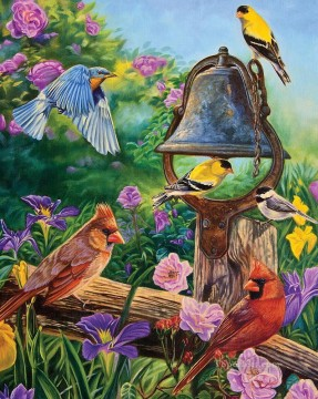 birds parrot and ring Oil Paintings
