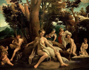 Artworks in 150 Subjects Painting - Leda With The Swan Antonio da Correggio birds