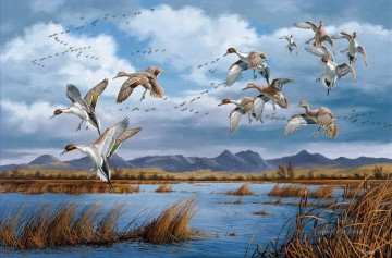 Bird Painting - mallards migration in autumn birds