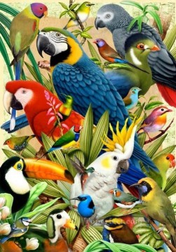 Bird Painting - parrot types birds