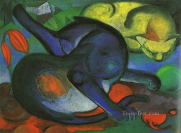 Cat Painting - Two Cats blue and yellow Franz Marc