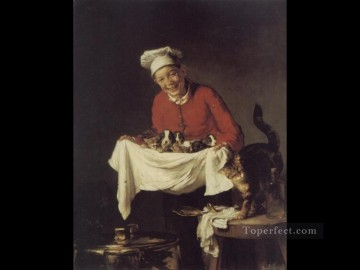 Cat Painting - A Boy with dogs and Kittens Joseph Claude Bail