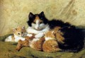 A Proud Mother animal cat Henriette Ronner Knip