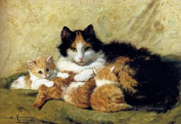 Henriette Canvas - A Proud Mother animal cat Henriette Ronner Knip