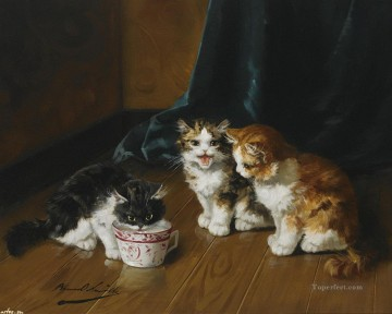 Cat Painting - Alfred Brunel de Neuville kittens on floor