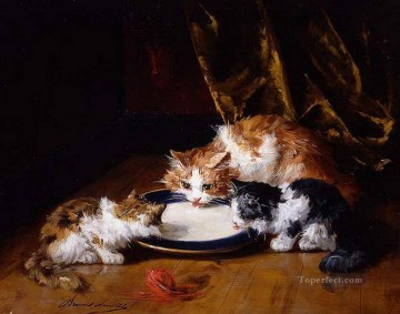 Animal Painting - Alfred Brunel de Neuville three cats sucking milk