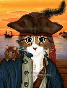 Animal Painting - Captain Leo cats