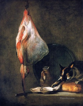 Animal Painting - Cat with Ray Oysters Pitcher and Loaf of Bread Jean Baptiste Simeon Chardin