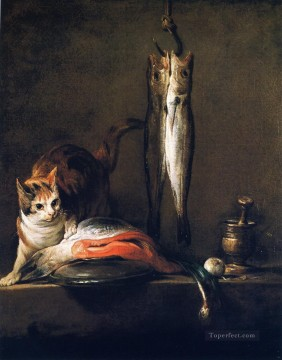Animal Painting - Cat with Salmon Two Mackerel Pestle and Mortar Jean Baptiste Simeon Chardin