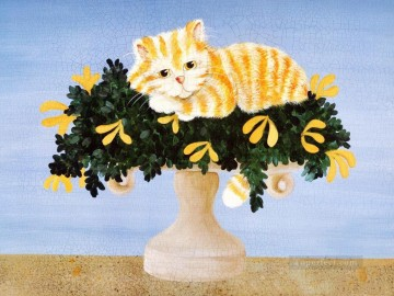 Animal Painting - Donna Masters Kriebel cat on vase