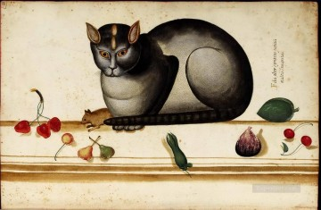 Animal Painting - Italian cat mouse and still life