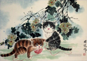 Cat Painting - Kittens at Play Chinese art