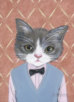 Animal Painting - Morris A Cat in Clothes
