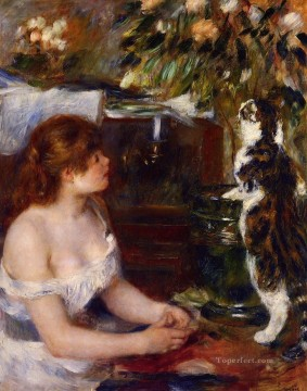 Animal Painting - Pierre Auguste Renoir Woman With a cat