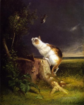 Beard Canvas - The Birdwatcher William Holbrook Beard cat