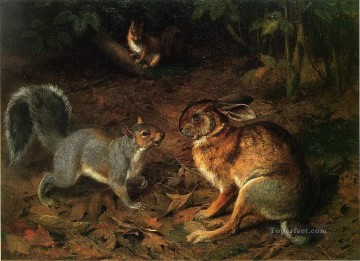 Animal Painting - The Gossips William Holbrook Beard cat