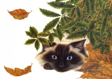 Animal Painting - cat and leaves