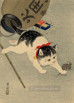 Animal Painting - cat catching a mouse Ohara Koson kitten