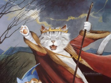 Animal Painting - cat king Susan Herbert