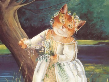 Cat Painting - cat lady Susan Herbert