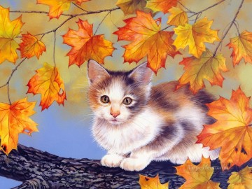 Animal Painting - cat with red leaves Maday Jane
