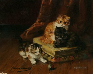 Animal Painting - cats and a ball Alfred Brunel de Neuville