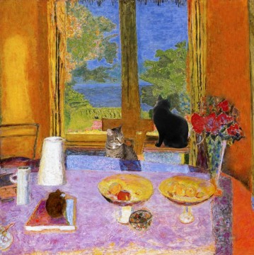 Cat Painting - cats seated on table