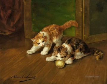 kittens playing a clew Alfred Brunel de Neuville Oil Paintings