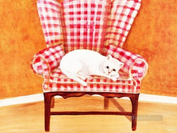 white cat in chair Oil Paintings