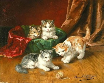 Alfred Brunel de Neuville 4 kittens Oil Paintings