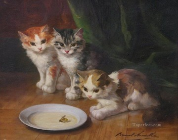 cat cats Painting - Alfred Brunel de Neuville cats and bee