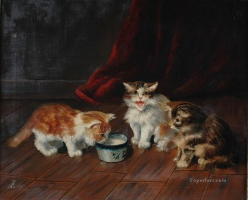 Cat Painting - Alfred Brunel de Neuville three kitten
