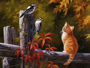 Cat With Birds Oil Paintings