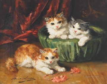 Cat painting 8 Alfred Brunel de Neuville Oil Paintings