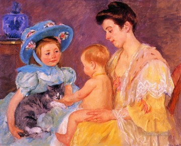 Cat Painting - Children Playing with a Cat impressionism mothers children Mary Cassatt