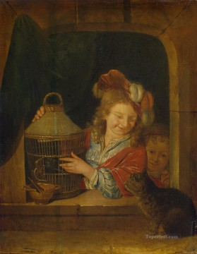 Cat Painting - Children with a Cage and a Cat