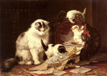 Cat Painting - De Snippermand animal cat Henriette Ronner Knip